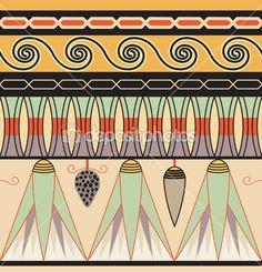 египетский орнамент, векторные иллюстрации, бесшовный фон — Векторная картинка #8388273