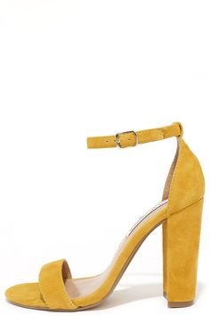 14679babd97 The Steve Madden Carrson Yellow Suede Leather Ankle Strap Heels are on fire  with a simple