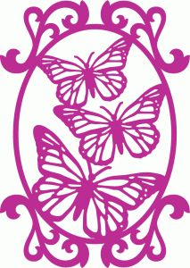 Silhouette Design Store - View Design #67368: butterfly oval frame