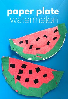 Paper Plate Watermelon Craft For Preschoolers - No Time For Flash Cards Camping Crafts For Kids, Summer Crafts For Kids, Daycare Crafts, Classroom Crafts, Toddler Crafts, Summer Activities For Preschoolers, Summer Art, Toddler Preschool, Watermelon Activities