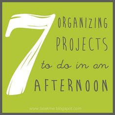 7 Organizing Projects to do in an Afternoon. Seven simple organization projects to do that don't take much time! Must read since most of my projects are so overwhelming I'll never get started. Organization Station, Home Organisation, Household Organization, Storage Organization, Organization Ideas, Organizing Tips, Deep Cleaning Tips, Cleaning Hacks, Clean Out
