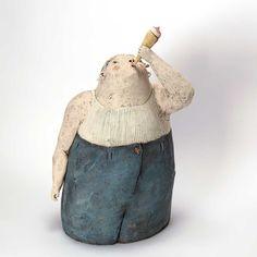 blue - child with ice cream - figurative ceramic sculpture - Anne-Sophie Gilloen Sculptures Céramiques, Sculpture Art, Porcelain Ceramics, Ceramic Art, Art Gallery, Antony Gormley, Bronze Sculpture, New Art, Bucket Bag