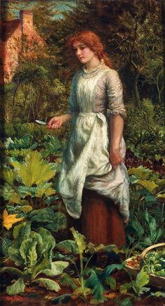 She probably worked in the garden, raising vegetables...???  arthur hughes   Victorian British Painting