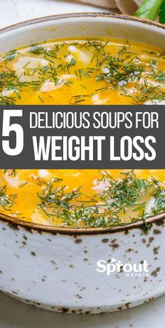 5 Healthy Soup Recipes For Weight Loss A weight loss diet plan doesn't necessarily have to be lacking in flavor. Here are 5 great tasting healthy soup recipes for weight loss you need to try. More from my Healthy Soup Recipes for Weight Loss Weight Loss Meals, Weight Loss Soup, Weight Loss Diet Plan, Healthy Weight Loss, Lose Weight, Water Weight, Clean Eating Recipes For Weight Loss, Weight Loss For Women, Sport Nutrition