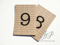 Wedding Table Numbers - Typewriter. $5.00, via Etsy.