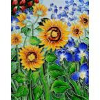 overstockArt Van Gogh, Sunflowers and Irises Trivet and Wall Accent 11 in. x 14 in. Tile (felt back), Multi Colored Glaze