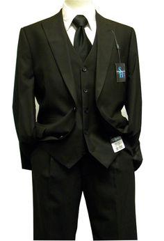 Steve Harvey Suits Mens 3 Piece Black Fine Shadow Stripe 6788