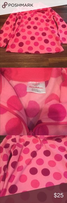 Hanna Anderson Fleece Pink and Purple Polka Dot Fleece. Size 120 --- 6x/7. Great used condition! Hanna Andersson Shirts & Tops