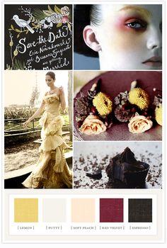 """alice in wonderland"" Colors:  lemon + putty + soft peach + red velvet + espresso <3"