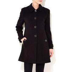 Black petite military coat