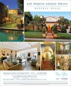 Ad Design for exclusive broker's open house — Mitzi Gaynor's 610 North Arden Drive in Beverly Hills