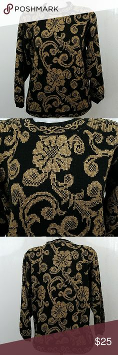 """Gold And Black Sweater by Alfred Dunner Gold And Black Sweater by Alfred Dunner. In great condition. Size medium.  Bust 46"""" Length 29"""" 90% Acrylic 10% Lurex Alfred Dunner Sweaters"""