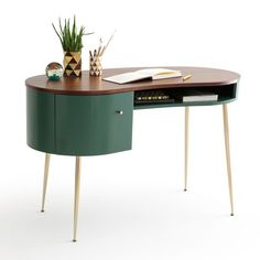 "Topim Vintage Desk LA REDOUTE INTERIEURS Magnificent vintage-inspired ""kidney bean"" shaped desk that takes its rounded design from the It's a fabulously retro piece for your work. Computer Desk With Shelves, Desk Shelves, Computer Desks, Desk With Storage, Desk With Keyboard Tray, Retro Desk, Retro Office, Vintage Desks, Vintage Office"
