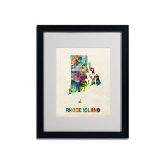 Trademark Global Watercolor State Framed Canvas Wall Art, Multicolor