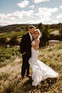 Quails-Gate-West-Kelowna-Wedding-Photographer - Dresses For A Wedding - Yacht wedding Chiffon Wedding Gowns, Tea Length Wedding Dress, Wedding Dresses Plus Size, Wedding Dress Styles, Bridal Dresses, Camouflage Wedding, Yacht Wedding, Quails, Bride Gowns