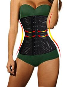 Lelinta Latex Waist Cincher Weight Loss Training Corset Fat Burner Workout Girdle ** You can find more details by visiting the image link.
