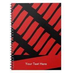 Personalized Notebook, Red and Black - This colorful notebook is decorated with an abstract pattern of repeating red shapes on a black background, and personalized with name or other text. It's easy to modify or delete example text. What a wonderful back-to-school gift! Also, great gift for graduation, teacher appreciation, Mother's Day, Father's Day, Christmas... Available in many colors at www.zazzle.com/SocolikCardShop*. All Rights Reserved © 2014 Alan & Marcia Socolik. #Red #Back2School