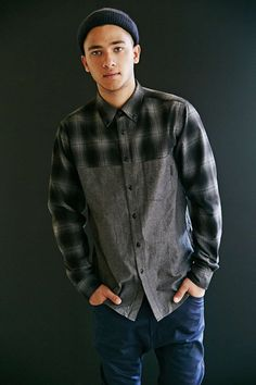 Unyforme Plaid Colorblock Button-Down Shirt