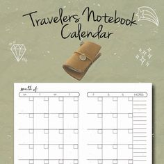 Travelers Notebook Insert, Montly Calendar, Undated Calendar, Fauxdori, Midori,Full Size,Leather Notebook Refill, Regular size insert, PDF by BrookeEvahPrints on Etsy