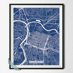 Sacramento Print California Poster Sacramento Map by VocaPrints