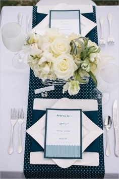Table Decor Tip: Nautical wedding table decor #florals #blue #polkadot #placesetting #themed #decor #detail #ideas   Photo by: Kate Preftakes Photography on Wedding Chicks Polka Dot Wedding, Nautical Wedding, Blue Wedding, Wedding Colors, Wedding Ideas, Wedding Themes, Wedding Styles, Wedding Flowers, Wedding Inspiration