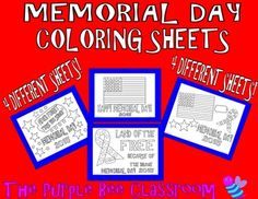 Memorial Day Coloring Sheets!4 different sheets to color!YOU MAY PRINT AS MANY OF THESE AS YOU WOULD LIKE FOR PERSONAL/CLASSROOM/HOMESCHOOL USE!Thanks for looking, and please check out my other products:https://www.teacherspayteachers.com/Product/Spring-Colring-Sheets-Funky-Shapes-Coloring-Pages-1812845https://www.teacherspayteachers.com/Product/Spring-Coloring-Pages-1794135https://www.teacherspayteachers.com/Product/Spring-Coloring-Pages-Series-2-1810346Thank you for stopping by…