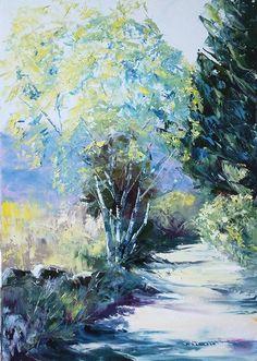 Palette knife oil painting. Huile au couteau. 50x70 cm. Chemin du Donezan.  Veroniquebec.com