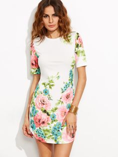 Cheap dress long sleeve tunic dress, Buy Quality dress cowgirl directly from China dress shirt sleeve length Suppliers: SheIn Elegant Dresses For Woman Summer Style Ladies Multicolor Floral Print Round Neck Short Sleeve Bodycon Dress Elegant Dresses For Women, Trendy Dresses, Cute Dresses, Trendy Outfits, Cute Outfits, Summer Dresses, Maxi Dresses, Trendy Clothing, Floral Dresses