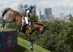 Karen O'Connor of the US on Mr Medicott competes in the Cross Country phase of the Eventing competition of the 2012 London Olympics July 30.