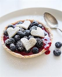 Roasted Plum & Berry Tart with Marzipan Hearts in an Almond -Pepper Crust