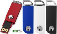 """Chiavette USB """"Swievel Rectangula"""" con chip on board e apertura a scatto tramite pulsantino cromato"""