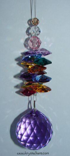 Rainbow Crystal Chandelier Crystal Ball #Rainbow #Crystal Ball #Suncatcher  Rainbow Crystal Suncatchers by Krystal Kat's www.krystalkats.com