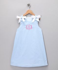 Take a look at this Light Blue Gingham Monogram Jumper - Girls by Monogrammables by Rosalina on #zulily today!