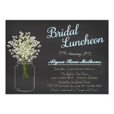 Chalkboard Mason Jar Baby's Breath Bridal Luncheon Invites