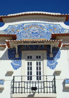 Blue and white detail in Aveiro. Portugal