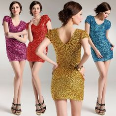 New 2014 summer women fashion brand colorful sequined deep V-Neck bodycon  tights package hip mini sexy club dresses.7 colors $14.80