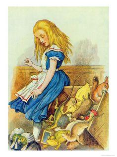 Alice Upsets the Jury-Box  Illustration from Alice in Wonderland by John Tenniel
