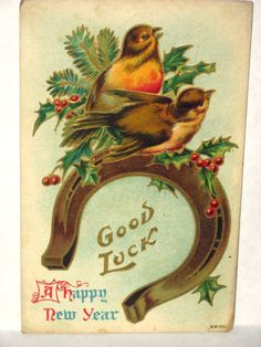 'Good Luck - A Happy New Year' <> (robins on horseshoe, vintage New Year card)