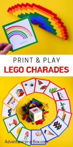 If you are looking for LEGO birthday party ideas, try this LEGO twist on the popular games of Charades or Pictionary! Print, make and play. - Kids education and learning acts Lego Creationary, Lego Craft, Lego Toys, Lego Minecraft, Lego Batman, Minecraft Buildings, Lego Club, Lego Hacks, Charades