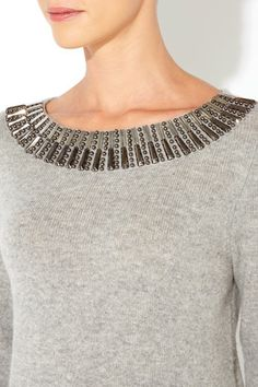 Grey Embellished Sweater