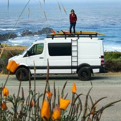 checking out the surf at Big Sur. Sportsmobile Sprinter with Aluminess gear . Mercedes Van, Mercedes Sprinter Camper, Benz Sprinter, 4x4 Camper Van, Camper Life, Ambulance, Van People, Sprinter Van Conversion, Vw Crafter