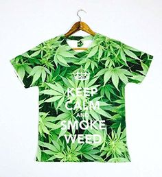 Men's T Shirt White X Large Men's high fashion all over print Keep Calm and Smoke Weed Marijuana Leaf. This cool edgy tee will give any casual outfit a colourful twist and is great for hitting the c...