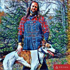 I'm not sure how much I like Prisma yet. Hmmm. #prisma #Cane #DogsOfInstagram #greyhound #overalls #dickiesworkwear #bluedenim #plaid