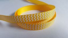 3m Printed Ribbon - Grosgrain - 9mm - Chevron - Yellow