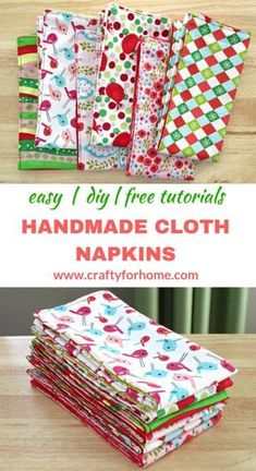 cloth napkins Easy sewing tutorials on how to make double-sided cloth napkins for fat quarters project, perfect for DIY table decor on holiday season and a fun homemade gift. Easy Sewing Projects, Sewing Projects For Beginners, Sewing Hacks, Sewing Tutorials, Sewing Crafts, Sewing Tips, Diy Gifts Sewing, Christmas Sewing Gifts, Gifts To Sew