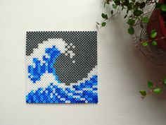 The Great Wave off Kanagawa by Katsushika Hokusai perler beads by mialiv Perler Bead Designs, Easy Perler Bead Patterns, Perler Bead Templates, Hama Beads Design, Diy Perler Beads, Perler Bead Art, Pearler Beads, Hama Beads Coasters, Hamma Beads Ideas