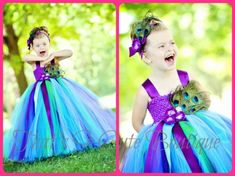 Peacock Flower Girl Tutu Dress, obviously different colors but I like the concept