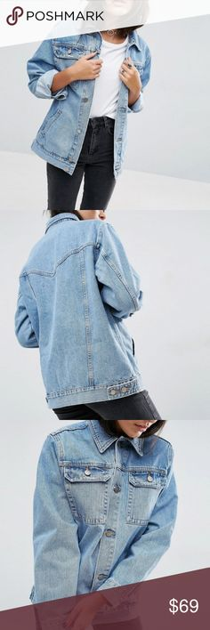 Asos denim girlfriend jacket ASOS Denim Girlfriend Jacket in Tansy Mid Stonewash Blue  Non-stretch denim Point collar Button placket Functional pockets Relaxed girlfriend fit  Machine wash 100% cotton  Color is closer to stock images ASOS Jackets & Coats Jean Jackets