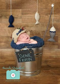 Newborn Fishing Hat  Photo Prop  Baby Boy by whimsylaneboutique, $28.00