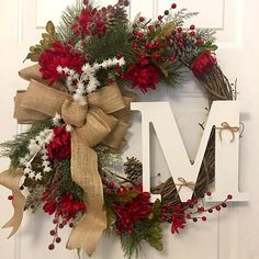 Rustic Christmas Wreath Initial Christmas Wreath Initial